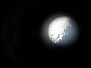 "The moon through the 60"" telescope. Photo by Janet Greene"